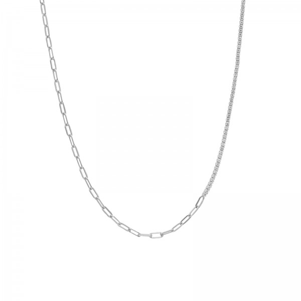 Chain meets Tennis Necklace Silber