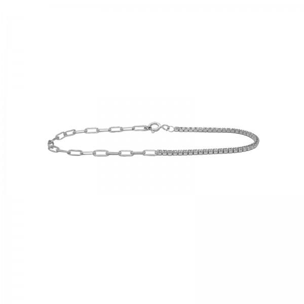Chain meets Tennis Bracelet Silber