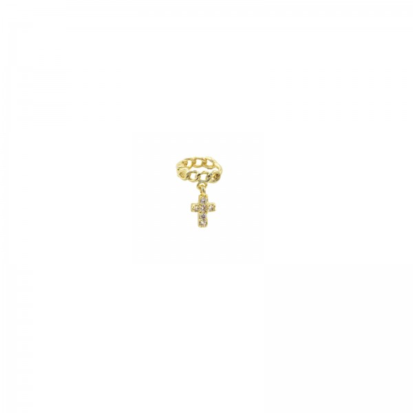 Tiny Chain Cross Piercing Gold